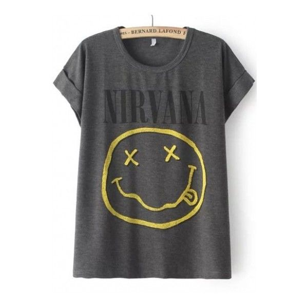 Grey Short Sleeve NIRVANA Face Print T-Shirt ($19) ❤ liked on Polyvore featuring tops, t-shirts, short sleeve tops, gray tee, short sleeve t shirts, gray top and grey tee