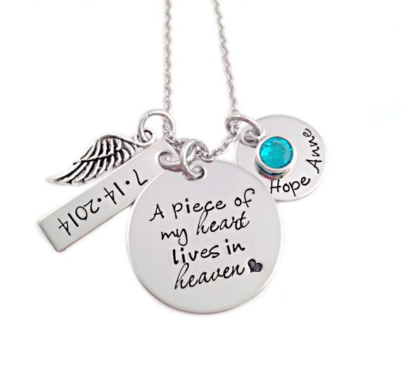 Personalized Memorial Necklace - A Piece of My Heart Lives In Heaven - Miscarriage Remembrance - Miscarriage Necklace - Infant Loss Jewelry