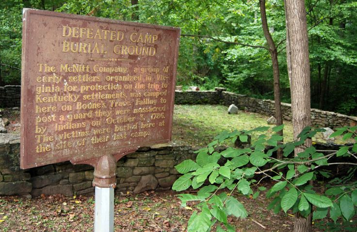 """Visit the site of a pioneer tragedy, where in 1786, the McNitt party was massacred on their way to settle the """"West"""", along Boone Trace.  While at Levi Jackson Wilderness Road State Park, walk in the footsteps of these pioneers along the Boone Trace Trail, where Daniel Boone himself passed to KY from NC in 1775."""
