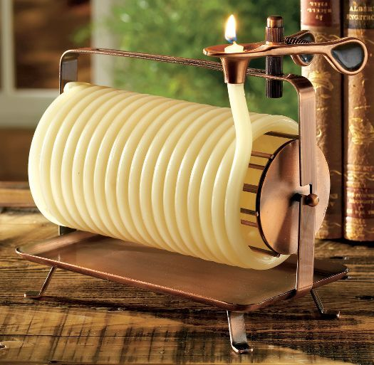 Candle-by-the-Hour Coiled Bee's Wax Candle. Just got one of these from a friend—perfect for my conservatory!