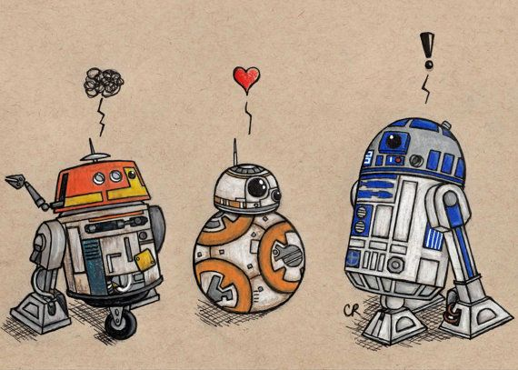 This listing is for a print of the Droids drawing. Featuring Chopper from Star Wars Rebels, BB-8 from Star Wars: The Force Awakens, and R2-D2 from