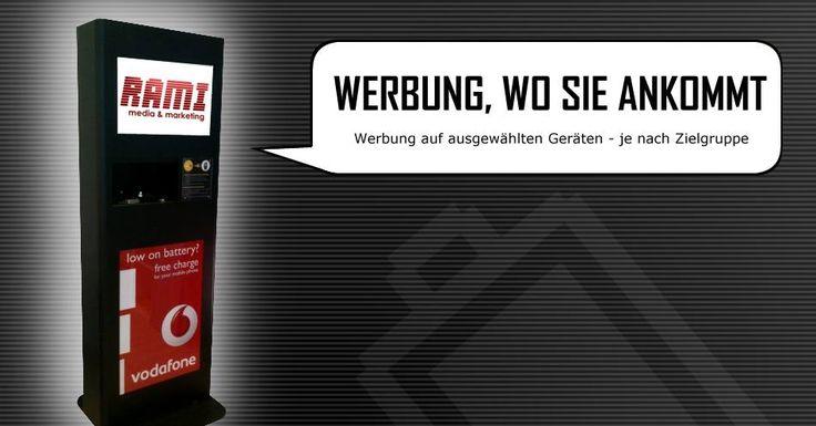 Werbung, wo sie ankommt. Zum Beispiel auf den neuen mobilen Handy-Ladestationen - von AKKUMAT in Kooperation mit Rami Media & Marketing.  (www.RAMI-MEDIA.de)