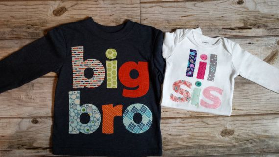 This big bro/lil sis set is great for family pictures, bringing baby home and so much more!  Each letter is hand cut from 100% cotton, securely appliqued to the tee and bodysuit using an iron-on adhesive and then stitched for a quality, long lasting wear. Some fraying may occur over time which only adds to the charm. Due to the hand-crafted nature of these pieces, there may be slight variations in the fabric patterns.  Both the tee and bodysuit have been washed prior to attaching the des...