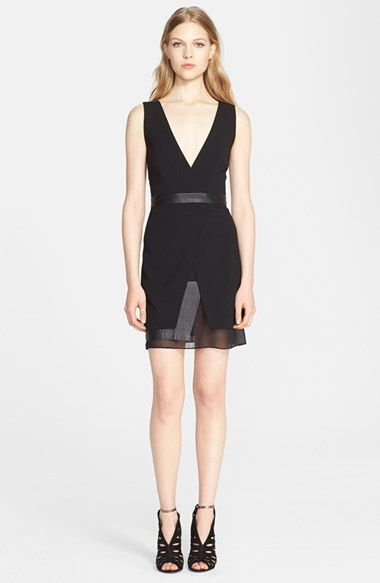Alice + Olivia 'Brice' Layered Leather Trim Dress available at #Nordstrom