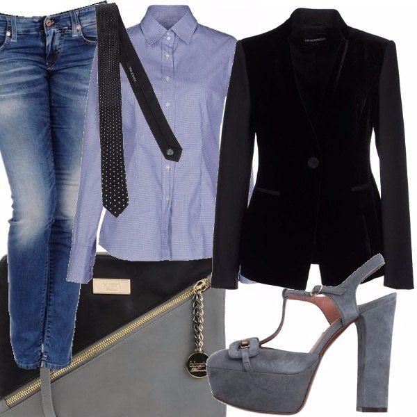 #outfit #bantoa #stellas #kazamiOriginal Jeans in denim blu, camicia azzurra modello maschile, blazer nero, maryjane in suede grigio, cravatta con micro pois, borsa a mano bicolore con cerniera di chiusura