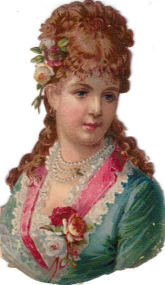 Victorian Die Cut Scrap Red Head Green Eyed Lady in Aqua c1880