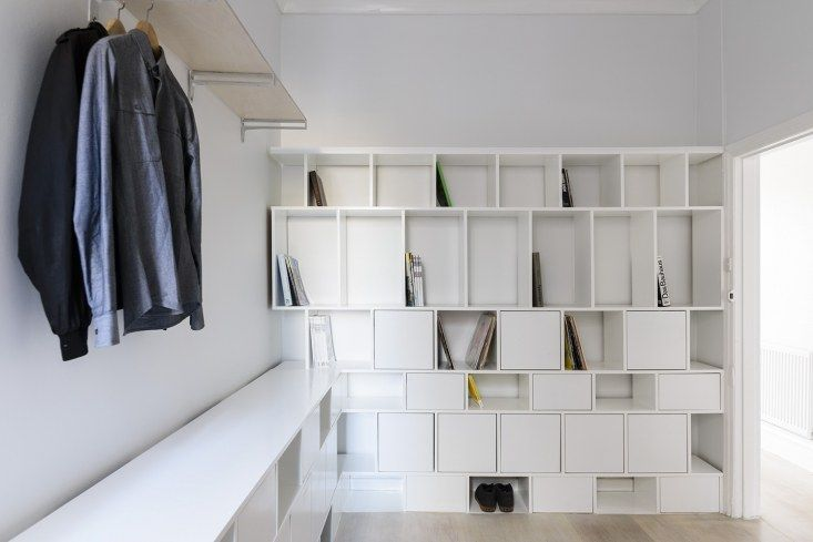 This thin shelving unit with cubbies is flexible enough for use in a custom closet or for a home office bookshelf