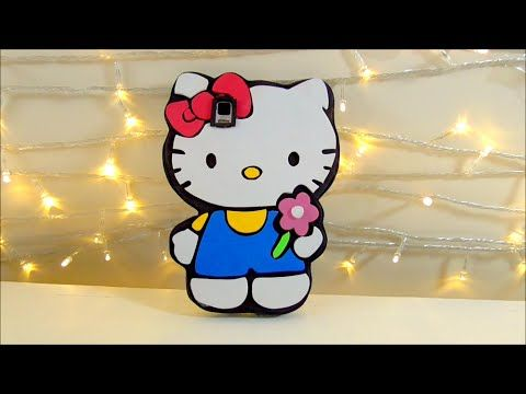 TUTORIAL funda de movil celular de hello kitty de goma eva o foamy Manualidades faciles | Isa ❤️ - YouTube