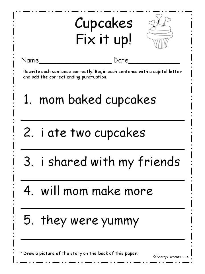 For First Grade Punctuation Worksheets : February fix it up sentences capital letters and ending