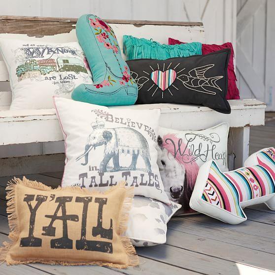 Junk Gypsy Prairie Cowgirl Boot Pillow | PBteen