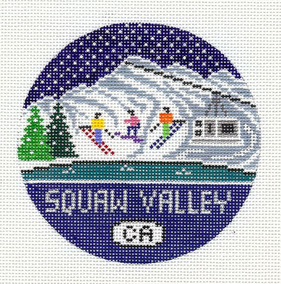 Hand painted needlepoint ornament on 18 mesh Zweigart needlepoint canvas. Perfect and unique for that person that loves skiing or snowboarding at Squaw Valley Ski Resort in California. The design is 4 round with 2 blank canvas surrounding it. NOTE: This is a needlepoint canvas to