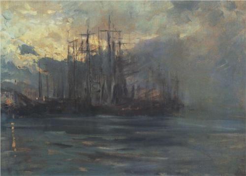 Port in Marsele, Konstantin Korovin, 1890