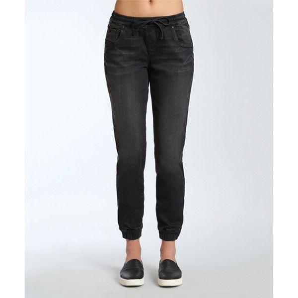 Mavi Used Black Sporty Aubrey Jogger Jeans ($27) ❤ liked on Polyvore featuring jeans, mavi skinny jeans, mavi, elastic-waist jeans, stretch jeans and elastic waistband jeans