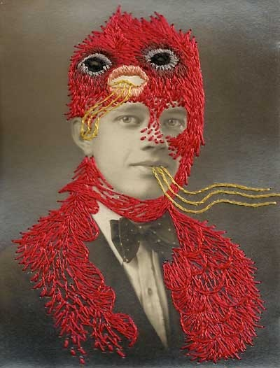 """""""Tu Two"""" Embroidered Photographs by Stacy Page and Jose Romussi"""