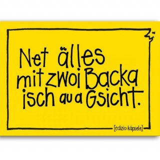 Postkarte Net älles mit zwoi Backa isch au a Gsicht.
