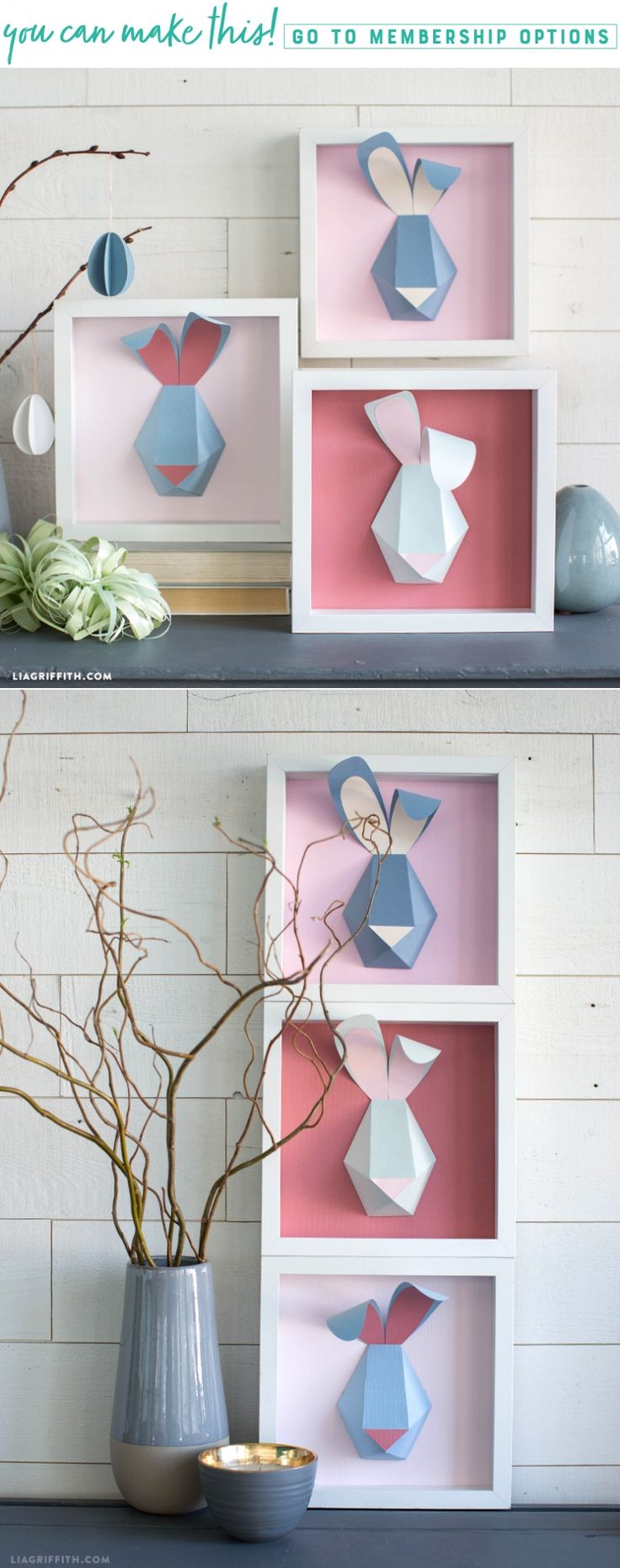 Somebunny to Love  We absolutely adore these modern 3D bunnies! Their geometric shape is cute, sleek, and a great way to incorporate bunny artwork for Easter. Learn how to craft your very own 3D bunny below to display in your home. https://liagriffith.com/3d-paper-bunny-artwork/ * * * #bunny #bunnys #modern #wallart #wallarts #frame #rabbit #easter #easterdecor #easter2018 #easterbunny #diy #diyidea #diyideas #diycraft #diycrafts #diyproject #diyprojects #paper #paperlove #papercut #paperart…