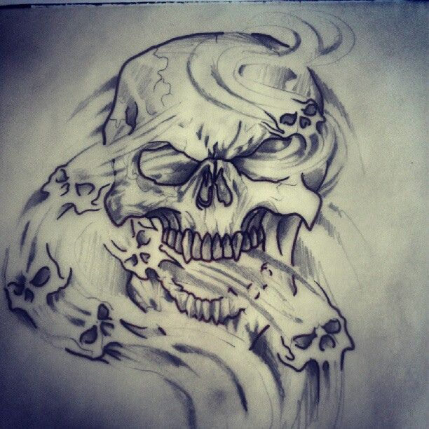 Skull smoke dead death demon art piece tattoo