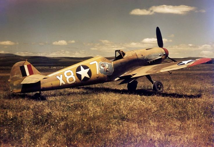"Famous Messerschmitt Bf 109 G-2/Trop named ""Irmgard"" of the 87th Fighter Squadron, 79th Fighter Group (ex-2.(H)/14, shot down in Tunisia by British ground fire on 1st of March 1943) Photo : USAAF"