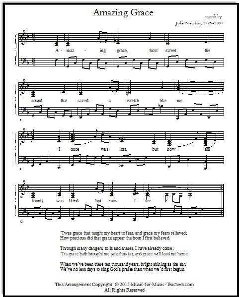 Amazing Grace Free Piano Sheet Music With Lyrics: 97 Besten Music Bilder Auf Pinterest