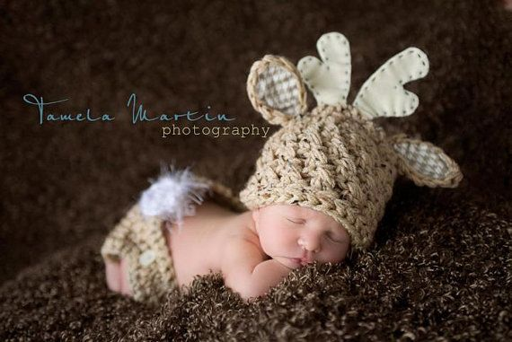Baby Boy or Girl Deer Hat and Diaper Cover Set by KnittyMomma, $30.00
