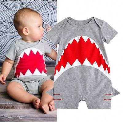 Cute-Shark-Baby-Boys-Short-Sleeve-Bodysuit-Romper-Jumpsuit-Summer-Outfit-Clothes