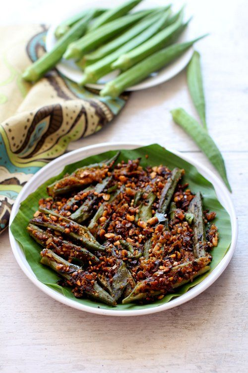 Bharwa bhindi recipe, an Indian style stuffed okra fry. Deliciously addictive and a gem among bhindi recipes #vegan #okra #indianfood