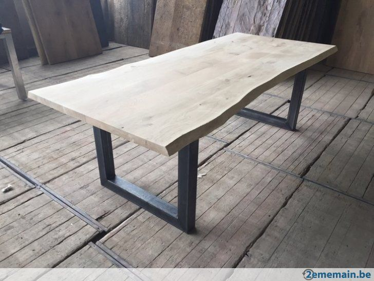 table industriel chene massif pieds