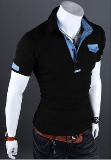 Men's Short Sleeve Shirt with Denim Details