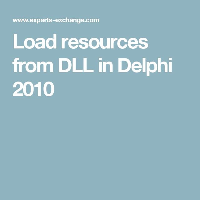 Load resources from DLL in Delphi 2010