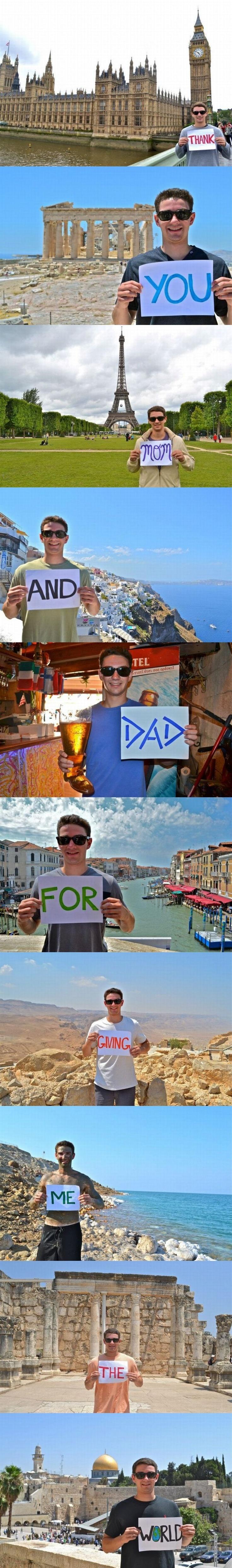 여행 중 부모에게 독특한 감사 인사를 전한 어느 청년