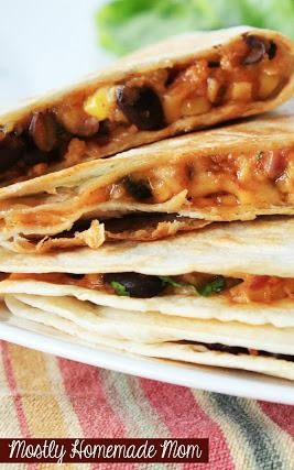 Stuffed Corn & Black Bean Quesadillas - these easy quesadillas are stuffed with cheese, corn, black beans, onion, and seasoning... REALLY good!
