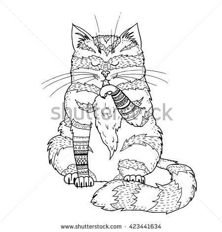 Stock Images similar to ID 375300103 - drawing zentangle cat for...