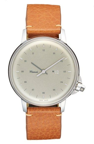 Free shipping and returns on Miansai 'M12' Leather Strap Watch, 39mm at Nordstrom.com. Subtle markers shift focus onto the impeccable Swiss craftsmanship and classically handsome profile of this quartz-powered watch proudly designed in Miansai's Miami-based studio. The resilient stainless-steel case is secured to a comfortable watchband of premium vintage leather from Italy.