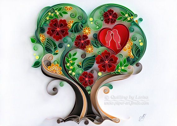 Quilling wall art Paper quilling art Love tree Quilling paper Wedding Anniversary The family love tree Framed Handmade Decor Design Gift