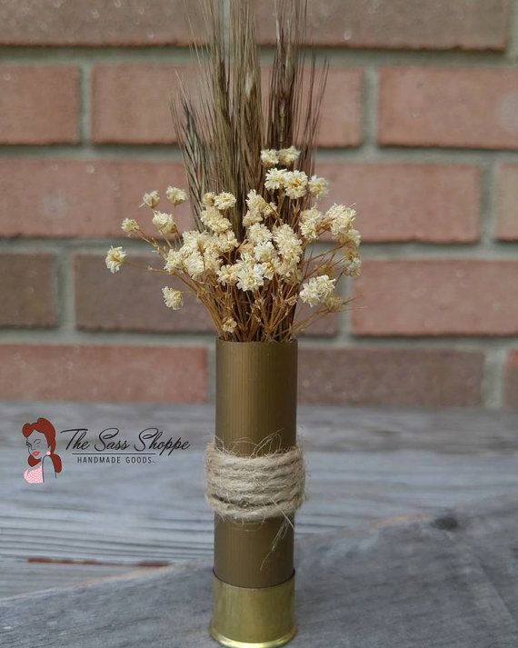 Wheat and Baby's Breath Shotgun Shell Boutonniere by TheSassShoppe