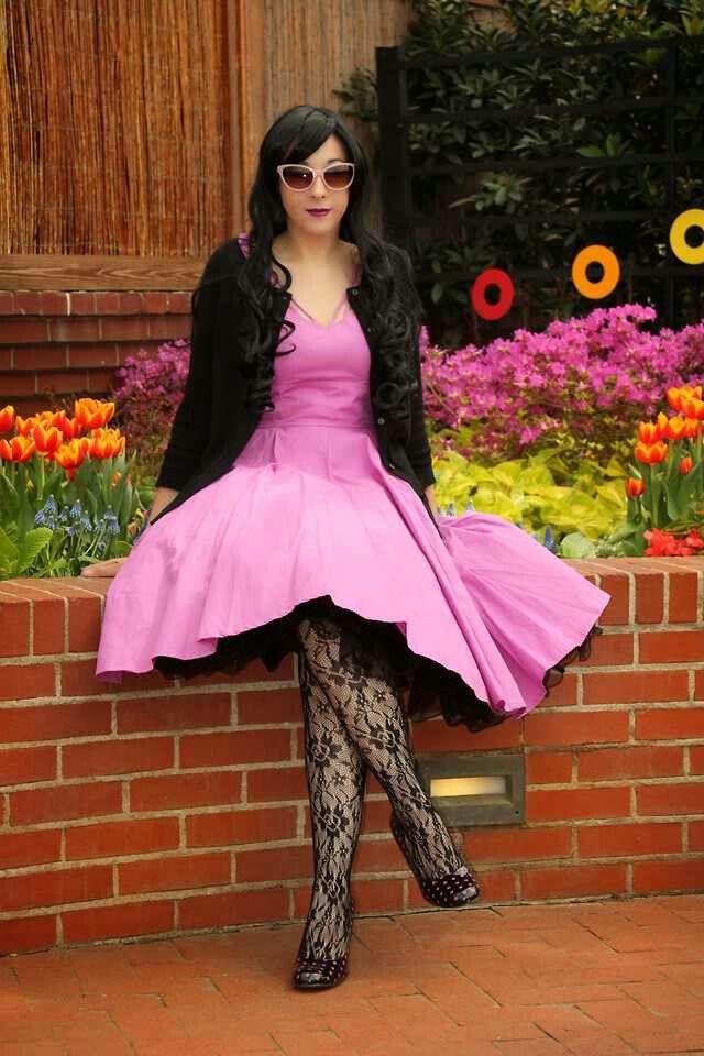 Pink Dress Black Petticoat Stockings Fashion Dresses