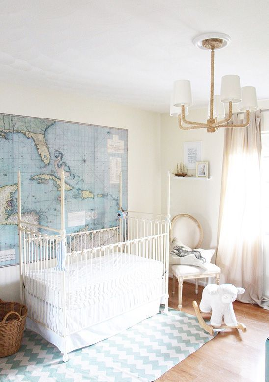 Modern Nursery Design In White, Beige, And Blue With A Nautical And Travel  Theme