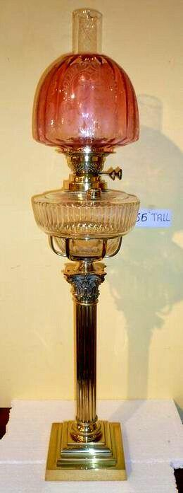 Victorian Tall Antique Oil Lamp with Brass Corinthian Column,Cut Glass Cradled Bowl And Beautiful Etched Ruby Shade and Double Burner