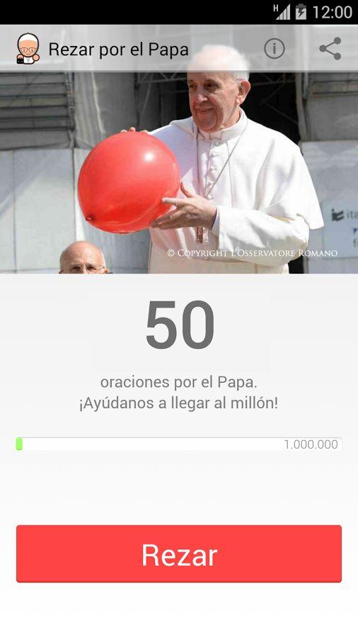 Rezar por el Papa: captura de pantalla