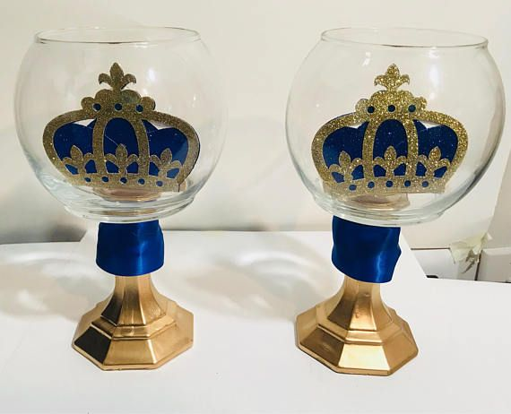 2 Royal Prince Baby Shower Centerpiece / Boys Royal Blue and