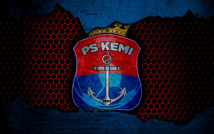 Download wallpapers Palloseura Kemi Kings, 4k, logo, Veikkausliiga, soccer, football club, Finland, grunge, PS Kemi, metal texture, Palloseura Kemi Kings FC