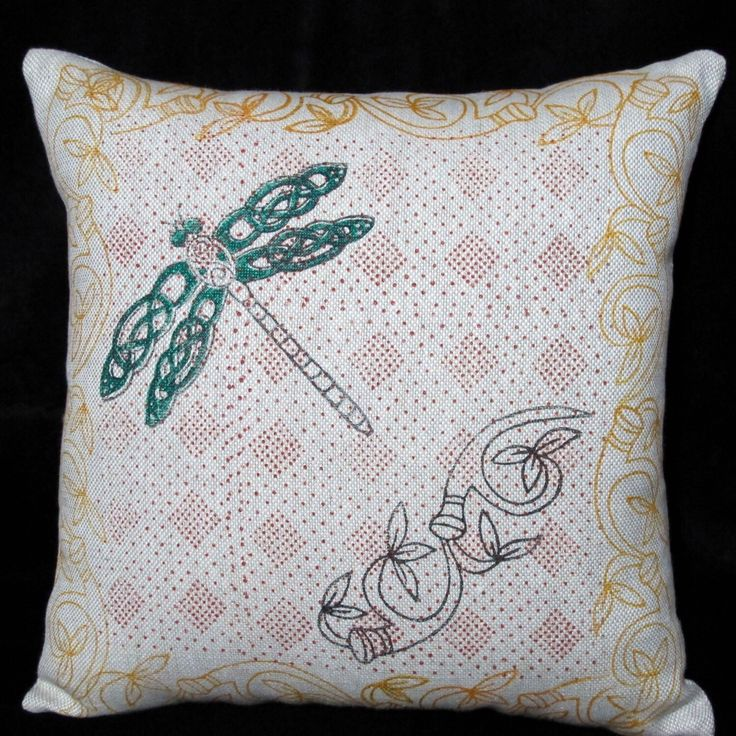 This 100% irish linen pillow cover has been hand block printed using celtic animal design - the dragonfly - in black , red, orange and green with fabric inks- an environmentally friendly product!  The pillow cover fabric is beautiful heavy weight irish linen (480grams per metre).  The wooden blocks