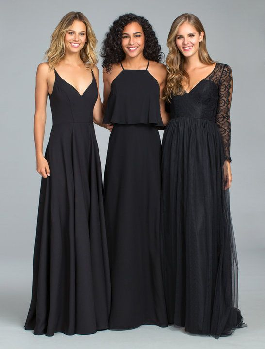 e1219475146d Style 5819 Hayley Paige Occasions bridesmaids dress - Black English net  A-line bridesmaid gown, deep V-neckline, lace and English net bodice,  natural waist ...