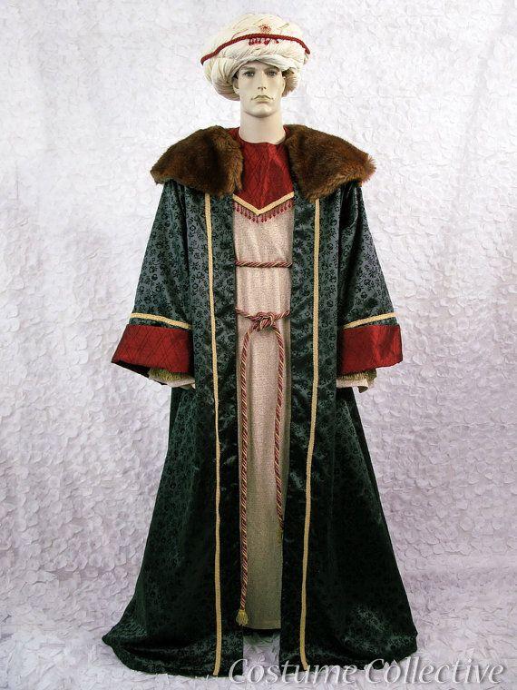 Green oriental three wiseman king arab with turban mens large