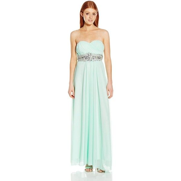 My Michelle Junior's Strapless Long Prom Dress with Embellished Waist... ($14) ❤ liked on Polyvore featuring dresses, green prom dresses, green embellished dress, embellished dress, long strapless dresses and long green dress