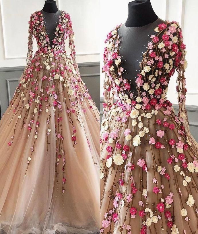 Long Sleeve Prom Dresses A Line Hand-Made Flower Floor-Length Long Beautiful Prom Dress M2950