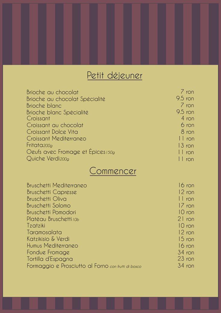 Menu Petit Dejeuner & Commencer
