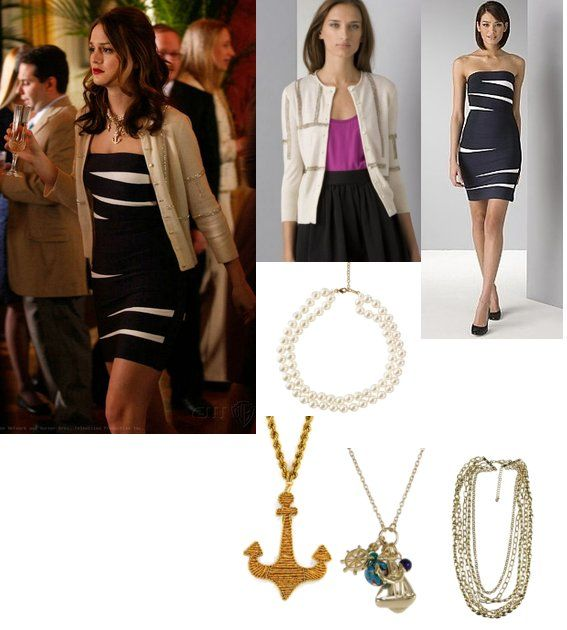 On Blair: Herve Leger Blue and White Dress, Joie Sequin Cardigan, Erikson Beamon Anchor Necklace