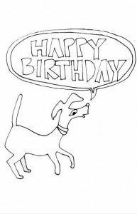printable birthday cards to color  happy dog  free happy