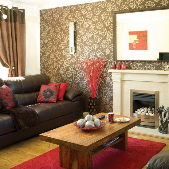 Red And Taupe Living Room